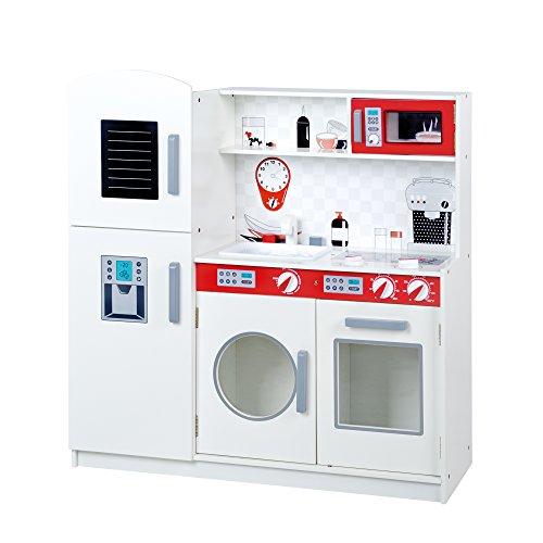 roba Spielküche, große Holz Kinderküche weiß, Spielzeug-Küchenzeile mit Kühlschrank, Tafel, Herd, Mikrowelle, Spüle, Wasserhahn