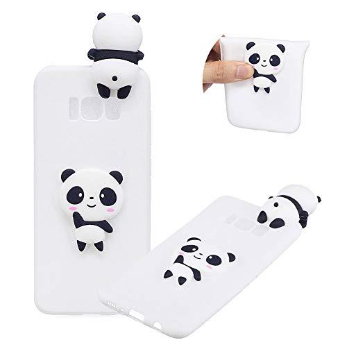 TPU Hülle für Samsung Galaxy S8 Plus,Weich Silikon Hülle für Samsung Galaxy S8 Plus,Moiky Komisch 3D Weiß Panda Entwurf Ultra Dünnen Scratch Resistant Soft Rückseite Abdeckung Handyhülle