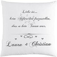 Partner Kissen mit Namen bedruckt Spruch Liebe ist beim Aufwachen...Geschenk