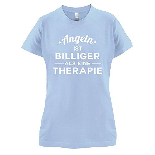 Angeln ist billiger als eine Therapie - Damen T-Shirt - 14 Farben Himmelblau