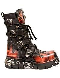 7a4c1bf77e7 NEWROCK nouveau Rock 591-S1 flamme rouge métallisé CHAUSSURES EN CUIR NOIR  GOTH motards bottes