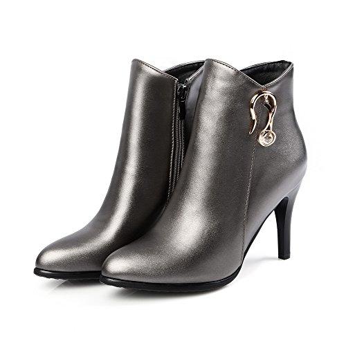 VogueZone009 Damen Spitz Zehe Niedrig-Spitze Gemischte Farbe PU Leder Stiefel, Rot, 33