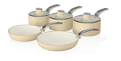 Swan Retro 5-Piece Pan Set with Ceramic Ivory Non-Stick Coating, Cream