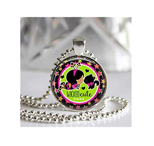 Cutie Katze Kind Kostüm - Wicked Cutie Halskette mit Anhänger Glasfliese Silberlünette Schwarz Kitty Halloween Schmuck