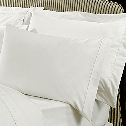 Highams Luxurious Plain Housewife Single Pillowcase, Cotton, Cream, 48 x 76 cm