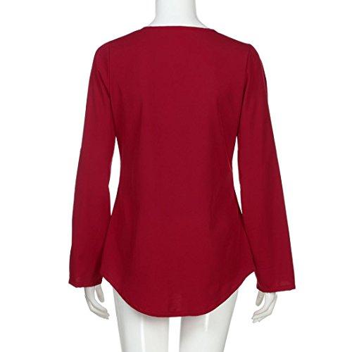 ADESHOP Mode Femmes Casual Mousseline Col V Tops T-Shirt Manches Longues Femmes Zipper Chic Mode Décontractée Topss Femmes Printemps et Automne Grande Taille Sport Élégant Haut à Blouse Rouge