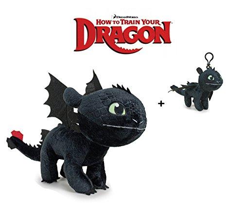 Dragons HTTYD - Peluche Drago Sdentato Toothless Furia Buia 30cm - 760016661-1 + Portachiavi Sdentato 11 cm