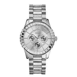 Guess W13582L2 – Reloj analógico de cuarzo para mujer con correa de acero inoxidable, color plateado