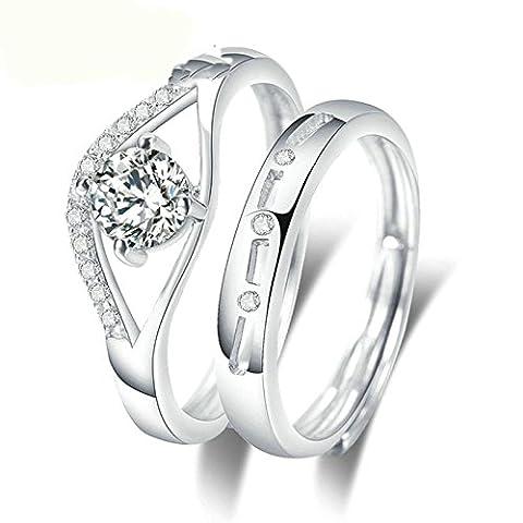 AnaZoz Alliance Mariage Bagues Couple Argent S925 Cubic Zironina Promise Valentine Cadeau Bague Ouverte Taille Ajustable