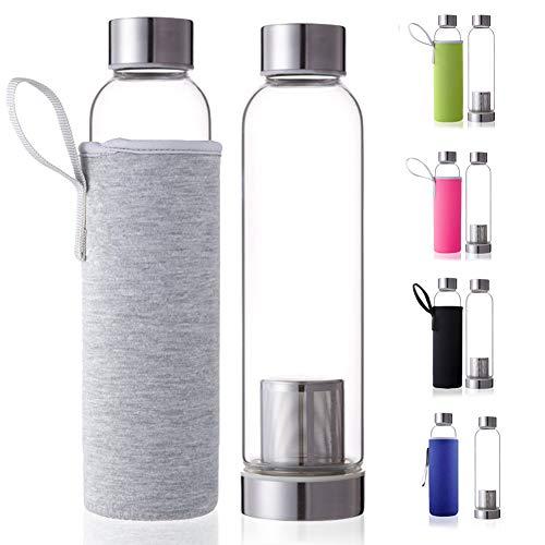 Dosige Trinkflasche aus Glas Sport Glasflasche Wasser-Flasche mit Edelstahl Filter-Einsatz und Nylon Thermo Hülle Bruchsicher 550ml Grau