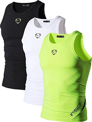 Jeansian Herren Sportswear 3 Packs Sport Quick Dry Compression Tank Tops Vests Shirt LSL3306 PackD S [Apparel]