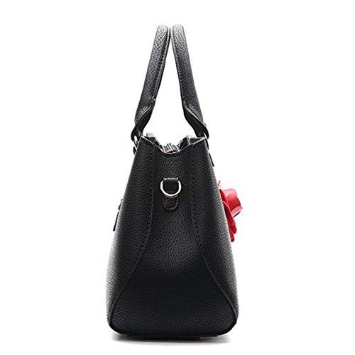 Auspicious beginning Elegante Schulter-Handtaschen der Frauen mit roter Blume 3D Dunkelblau