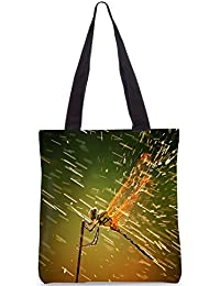 Snoogg Dragonfly Designer Poly Canvas Fashion Printed Shopping Shoulder Lunch Tote Bag For Women