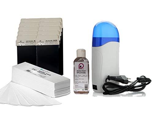 Kit EPILATION BLEU avec Chauffe Cartouches de cire à épiler +10 cartouches de cire AZULENE +250 bandes d'épilation +1 Huile Post Épilatoire 100 ml - Offre découverte