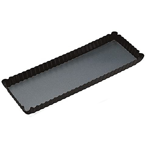 Master Class Non-Stick Fluted Rectangular Tart Tin / Quiche Pan with Loose Base, 36 x 13 cm (14 x 5