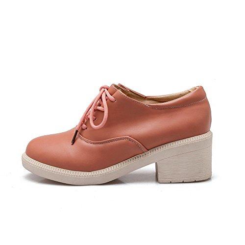 VogueZone009 Damen Pu Leder Mittler Absatz Rein Schnüren Pumps Schuhe Pink