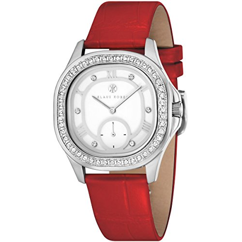Ladies Klaus Kobec Avery Watch with White Enamel Dial and Genuine Red Leather Strap - KK-10023-02