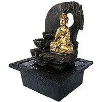 Fuente Electrica con Figura Buda Thai y Loto Dorada Cascada de Agua