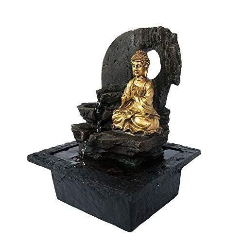(FEDOR Elektrischer Springbrunnen mit Buddha Thai und Lotusgold, Wasserfall)