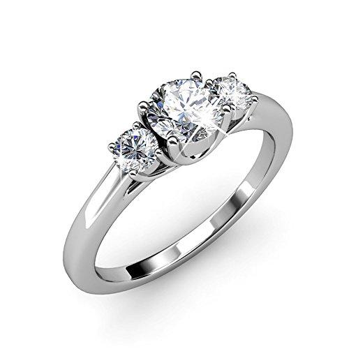 Drei Steine Diamant Verlobungsring Weißgold beschichtet Größe 52(16.6) Drei Diamant-verlobungsring