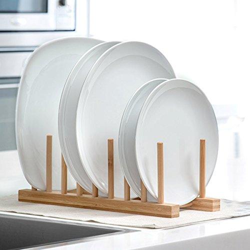 Home @ Styling Collection Tellerregal, Tellerständer, Ständer für Teller, Organizer für 8 Stück, 100% Bambus 34 x 13 x 12 cm (Home-styling)