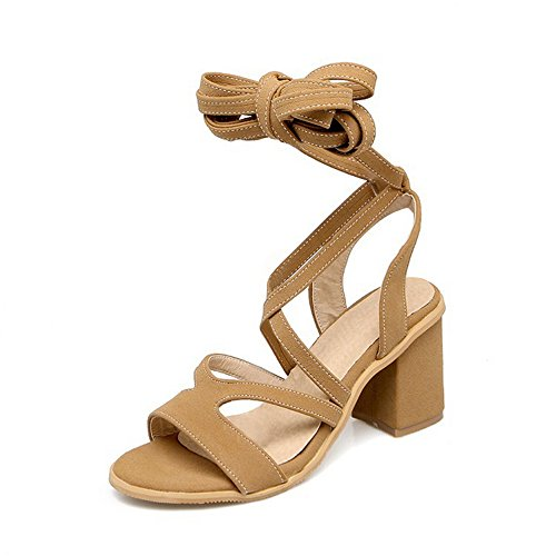 Sandales femmes aux genou spartiate lacet plate à lanières chaussures d'été taille 34-47 Jaune