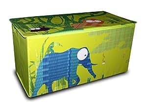 My Note Deco 066042 Jungle Coffre à Jouets Polypropylène/Polyester Vert avec Motifs 84 x 40 x 40 cm
