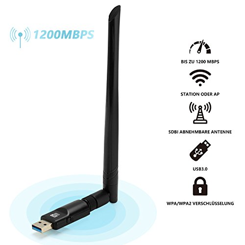Laptop Wifi-karte (Fukkie 1200 Mbps WiFi Adapter mit Dualband (5G 867Mbps / 2G 300Mbps), 5dBi High-Gain Antenne und MU-MIMO Technologie, Mini WiFi Stick, (802.11 ac/b/g/n, USB 3.0) WiFi Dongle für Windows 10/8/7/Vista/XP, Linux und Mac OS)