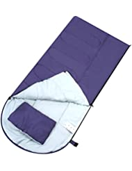 Enkeeo - Saco de Dormir Rectangular Ultraligero para Acampada (Almohada Incluida, Cremallera lateral Derecha Acoplable a otro Saco, Forro Poliéster y Algodón) Morado