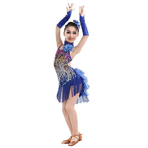 uirend Tanzsport Bekleidung Kleider Röcke Mädchen - Kinder Franse Pailletten Kleider Tanzkleid Latein Kostüm Turnierkleid Salsa Tango Kleid Samba Rumba Ballroom Cha Cha