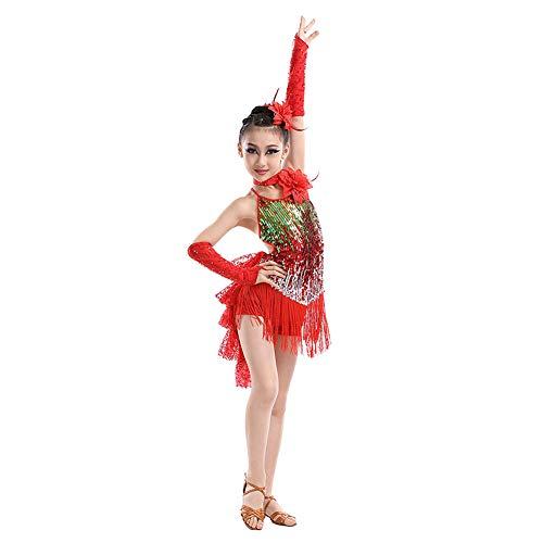 Yudesun Latein Tanzkleid Bekleidung Röcke Mädchen - Kinder Pailletten Franse Kleider Tanzen Kleid Turnierkleid Kostüm Tango Samba Rumba Salsa Cha Cha Ballsaal Performance
