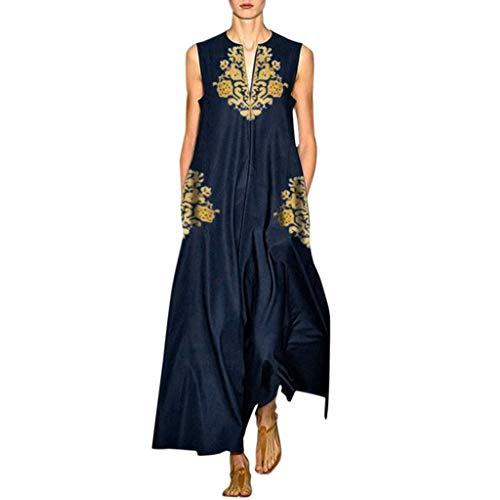 Zegeey Damen Kleid Retro ÄRmellos V-Ausschnitt BöHmen Blumen Drucken Sommer Maxikleid Sommerkleider Strandkleider Blusenkleid(E1-Dunkelblau,EU-48/CN-5XL)