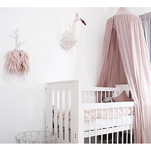 Kinder-Bett Baldachin, Kinderzimmer-Bettwäsche Baumwolle, Moskitonetz zum - Bettwäsche Mädchen Teen Rosa