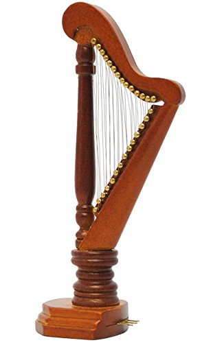 Unbekannt Miniatur Harfe - aus Holz / Maßstab 1:12 - Saiten Musikinstrument - Nostalgie Puppenstube / Puppenhaus - Harfeninstrument - Zupfinstrument - M..