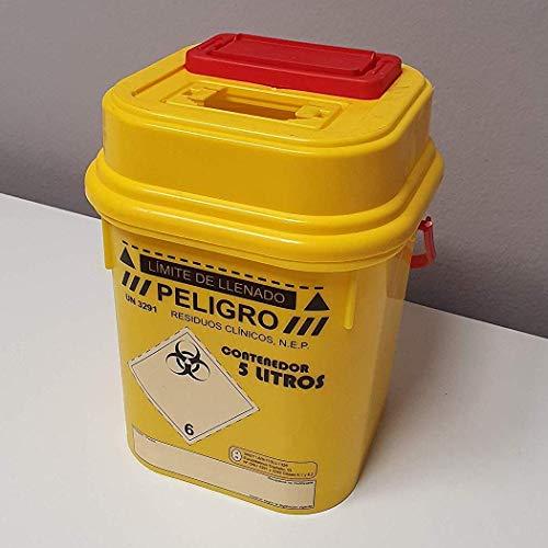Contenedor sólido de 5 L litros homologado para residuos peligrosos G-III punzantes y cortantes