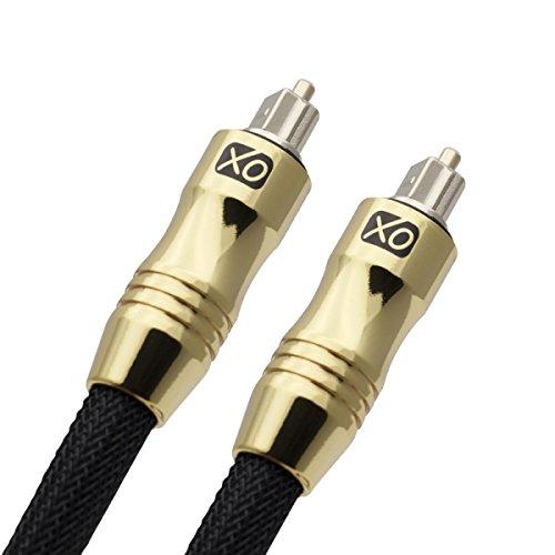 XO Ultra 1,5m Schwarz - professionelles digital optisches Toslink Kabel - 24k vergoldetes Gehäuse - Kompatibel mit PS3, PS4, Xbox One, Sky HD, HDTv, Blu-rays, AV Amps **Das qualitative Glasfasermaterial sorgt für eine bessere Klarheit bei der Übertragung digitaler Signale**