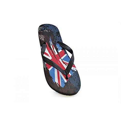 Herren Flip Flops mit GB Union Jack Flagge Schwarz/Rot/Blau