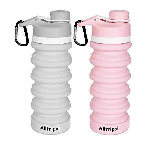 Alltripal Faltbare Wasserflasche Trinkflaschen aus Silikon Tragbare Leichte Faltbare Silikonflasche für Outdoor Fitnessstudio Wandern Radfahren 550ml (Pink+Grau)