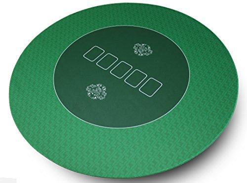 Runde Profi Poker Tischauflage 100cm von Bullets Playing Cards – Pokertuch – Pokerteppich – Pokermatte - grün - ideal als Geschenk Test
