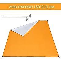 Wonyered Lona de Suelo de Oxford Toldo Refugio Impermeable Plegable y Protección UV al Aire Libre para Tienda de Campaña Picnic Pescada Senderismo Naranja Tamaño 2-3 Personas 150 * 210 cm