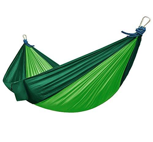 Amaca in seta da paracadute ultraleggera - chill-swing - altalena - amache gigante xxl - hammock per 2 persone in seta di nylon da paracadute 2,70 x 1,40 cm della ocean5, in verde/verde scuro