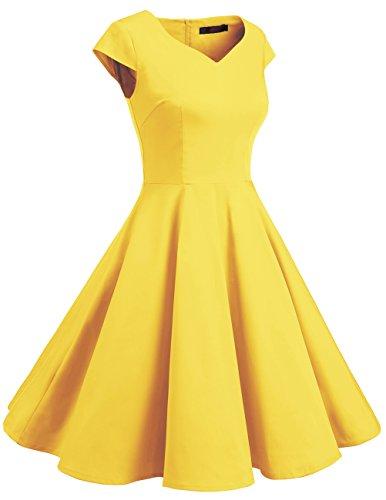 Dresstells Vintage 50er Swing Party kleider Cap Sleeves Rockabilly Retro Hepburn Cocktailkleider yelllow