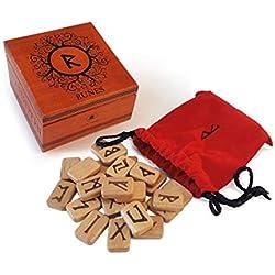 Juegos de runas de madera con saco y caja