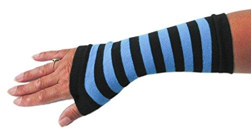 1-Pair-of-Arm-Warmers-Fingerless-Long-Gloves-Black-Stripe-UK-Made