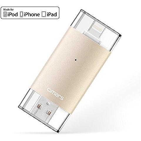 [Certificado por Apple MFI] OMARS 2ª generación Memoria USB 3.0 64GB para IPhone, IPad, MacBook, Computadoras, Laptops Flash Drive con conector rayo [Compatible con