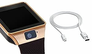 MIRZA Smart Watch & Data Cable for SAMSUNG GALAXY NOTE 4 DUOS (Bluetooth Headset & Bluetooth DZ09 Smart Watch Wrist Watch Phone with Camera & SIM Card Support Hot Fashion New Arrival Best Selling Premium Quality Lowest Price with Apps like Facebook, Whatsapp, Twitter, Sports, Health, Pedometer, Sedentary Remind & Sleep Monitoring, Better Display, Loud Speaker, Microphone, Touch Screen, Multi-Language, Compatible with Android iOS Mobile Tablet-Assorted Color)