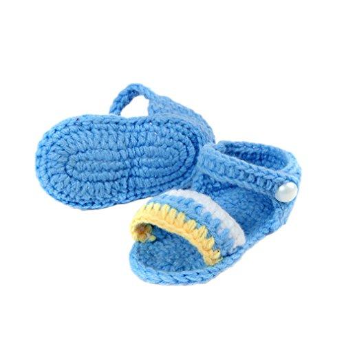 Bigood(TM) 1 Paar Strick Schuh Baby Unisex Strickschuh One Size süße Muster 11cm lilienweiss Blume Blau E