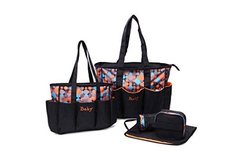 EwigYou 5-Teiliges Wickeltasche-Set Gepunktete Pflegetasche mit Zwei Mummy Taschen Punkt Orange