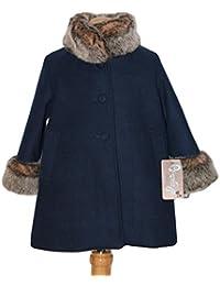 CARMEN VAZQUEZ - Abrigo Azul Marino con bocamanga y Cuello de Pelo.