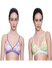 246b0a83654 Brag Pack of 2 Triangle Mesh Back Pullover Purple and Green T-Shirt  Bralette Bra for Girls…